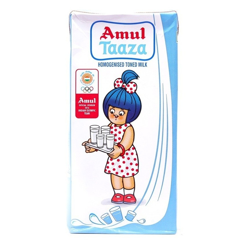 Amul Taaza - Fresh Toned Milk, (1L / 200ml)
